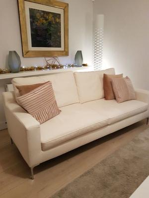 Dwell 3 seater sofa and armchair in while leather effect. Three years old and very good condition