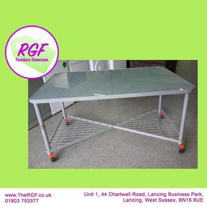 SALE NOW ON!! Glass Top Table / Office Desk On Wheels -