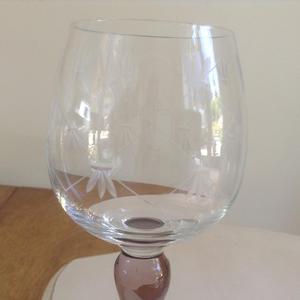 Set of 6 Cut Glass Crystal Wine/Hock Glasses