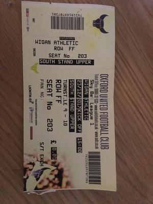 Wigan Athletic v Oxford United match day ticket 7-0 record breaking game