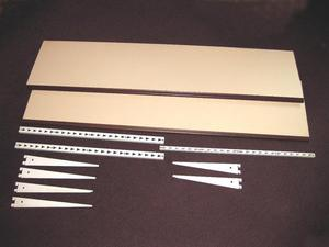 2 x White with wood effect edging and adjustable brackets