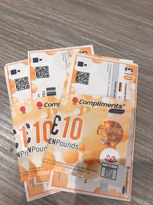 £300 compliments vouchers for loads of shops including John Lewis and Argos