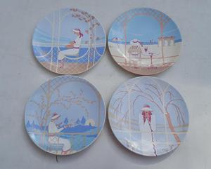 Art Deco plates by Poole Pottery, set of 4....