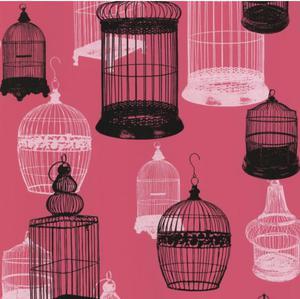 Avian Bird Cages Wallpaper - Pink