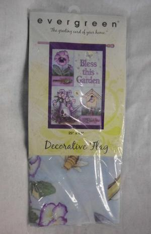 "Evergreen 29"" X 43"" Decorative Garden Flag NIP Pansy Plaid"