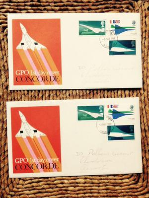 GPO First Day Covers (FCD) of CONCORDE - two covers