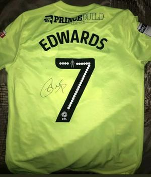 Gwion Edwards hand signed match worn Peterborough United shirt with Coa