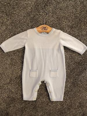Pale Blue and White Stripe Knit Footless Babygrow