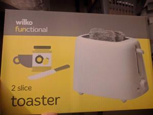 Wilko toaster for £5 Wilko kettle for £5 Morrisons vaccum cleaner(W) £15 Microwave(17L) £15.