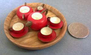 vintage micro wooden tea set