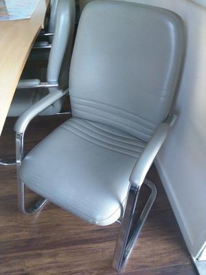 6 - CONFERENCE CHAIRS IN GREEN-GREY VINYL - VERY GOOD CONDITION & QUALITY
