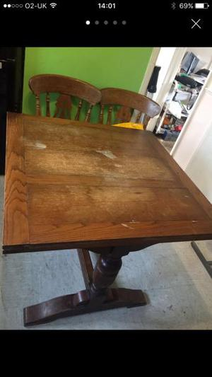 Antique Solid Wood Extending Dining Table and 4 Chairs