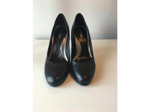 Barrett's - Black Leather Court Shoes (Size EU 38/UK 5) in