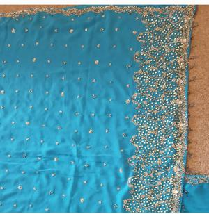 Blue diamante saree