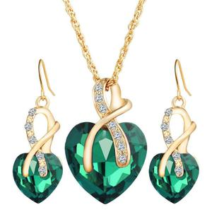 Gorgeous 4pcs set Jewellery set green gold plated