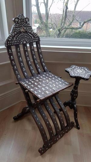 antique ethnic chair and table, mother of pearl inlay