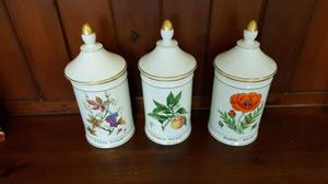 set of 6 french porcelain lidded jars, immaculate