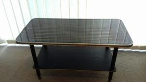 vintage coffee table black gold red pinstripes