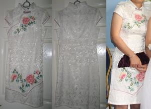 A gorgeous white chinese dress with lovely flower pattern