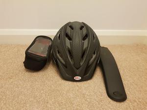 Bicycle helmet, Bicycle mud guard and storage bag for phone, keys etc