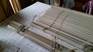 Biscuit colour metal Venetian blinds x 2