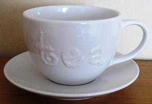 Large white 'Tea' Cup and Saucer