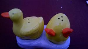 New Salt and Pepper Set - Unusual Ducks on water
