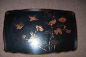 TWO VINTAGE JAPANESE LACQUERED TRAYS BLACK WITH BIRDS/FLORAL