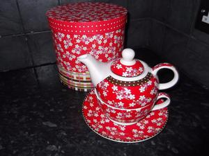 Teapot with Cup and Saucer for one in Gift Box - Brand New