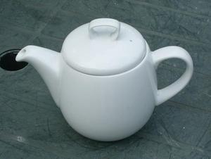 Barrel Shaped White China Teapot