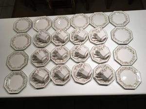 Eternal Beau 12 Cup, Saucers and Teaplates - Johnson Bros