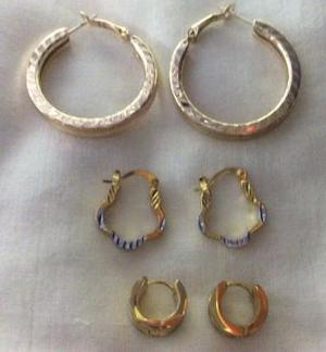 Gold plated earrings x3.
