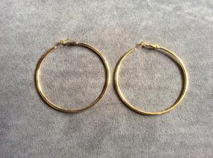 LARGE GOLD PLATED HOOP EARRINGS.