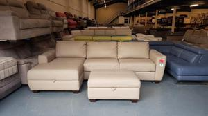 Otto cappuccino leather chaise sofa bed and footstool