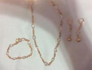 ROSE GOLD PLATED CRYSTAL JEWELLERY SET.