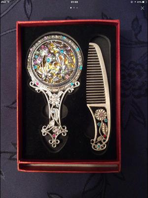 Silver Vintage Childs Mirror and Comb still in box in excellent condition Very old £50 ono
