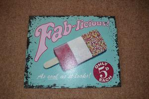 WOODEN WALL PLAQUE - FAB-LICIOUS ICE LOLLY EXCELLENT CONDITION