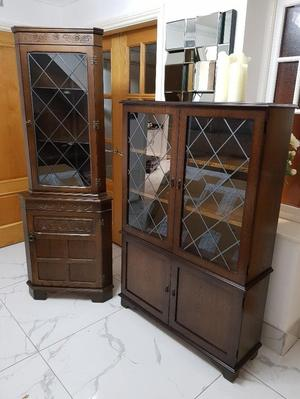 Wooden corner unit and display cabinet for sale