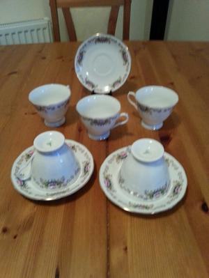 partial tea set cups and saucers