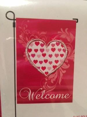 "*NEW* ""WELCOME"" VALENTINE'S DAY HEART GARDEN FLAG Love"