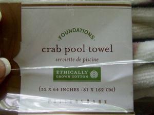 Pottery Barn Crab Printed Beach Pool Bath Towel ~ NWT ~ Blue