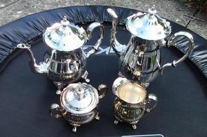 SILVER PLATED TEA COFFEE POTS + jug and sugar bowl