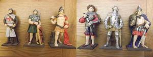 Set of 6 large military figures by Valentina