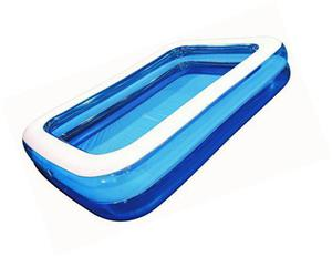 "rectangular family inflatable pool, 2 ring, blue, 103"" x 69"""