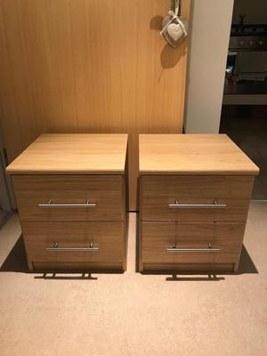 2 x 2 drawer Oak effect bedside tables