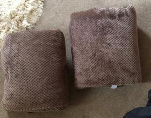 2 x dark brown throws double bed size £25 for both