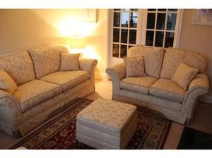 Beautiful 3 seater, 2 seater, chair and footstool in
