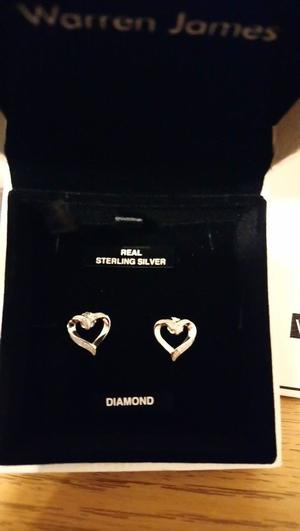 Brand New never worn Sterling Silver and Diamond Earings with box and gift bag. Was £49 NOW £20