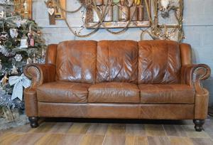 Chesterfield Vintage Distressed Leather 3 Seater Sofa Tan Brown