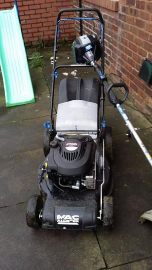 Mac allister petrol lawnmower and strimmer